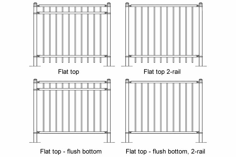 Four patterns of basic steel fence panels including two or three horizontal rails with or without flush bottoms.