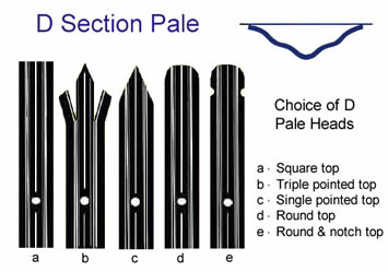 D section pales with five types of pale heads