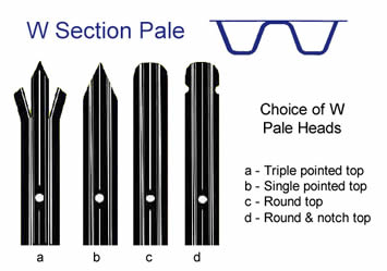 W section pales with four types of pale heads