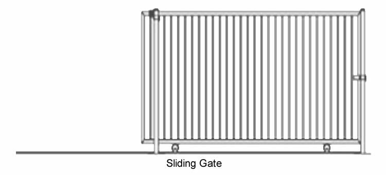 A plan drawing of sliding steel fence gate with one leaf.