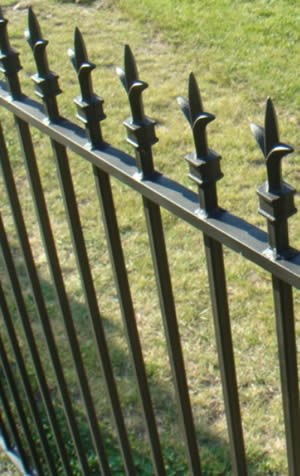 A rod top fence panel with SFF-1 finials