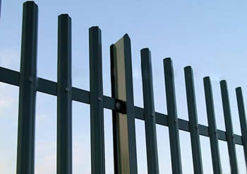 A Green PVC coated steel palisade fencing panel